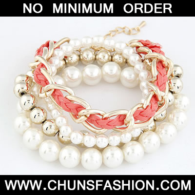 Plum Red Pearl Woven Multilayer Bracele