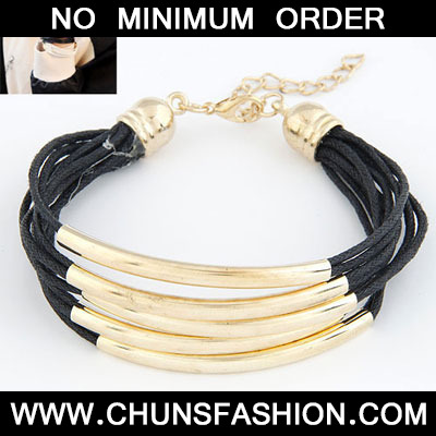 Black Elbow Multilayer Copper Leather Bracele