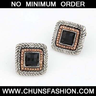 Black Sweet Square Shape Stud Earring
