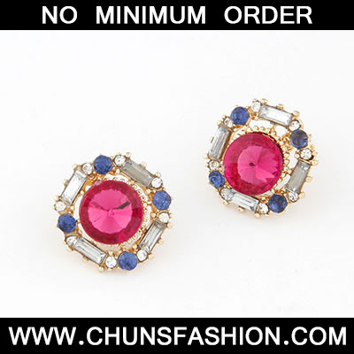 Plum Red Luxury Round Shape Stud Earring
