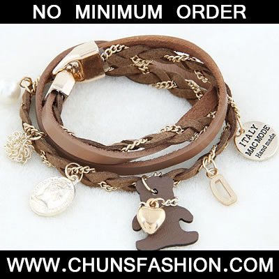 Brown Lovely Bear Multilayer Bracele