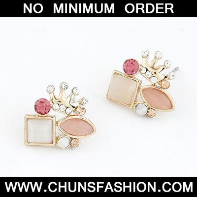 Golden Personality Crown Imitate Opal Stud Earring