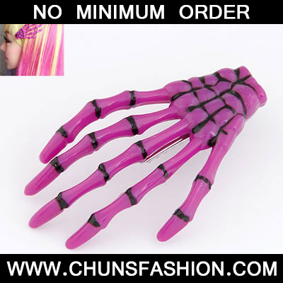 Purple Skeleton Hands Brooche