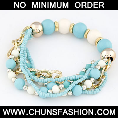Light Blue Bohemian Mix Style Multilayer