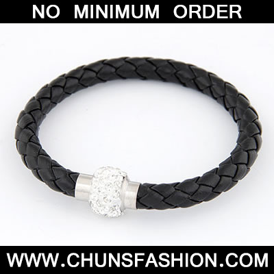 Black Matching Bright Ball Weave Bracele