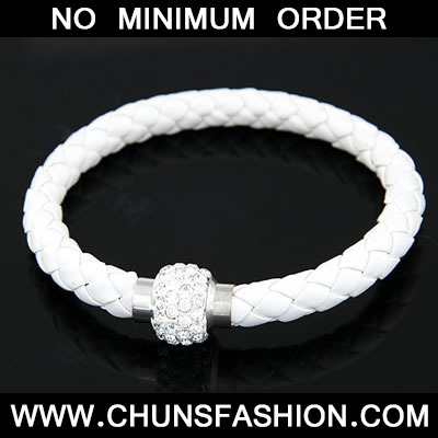 White Matching Bright Ball Weave Bracele