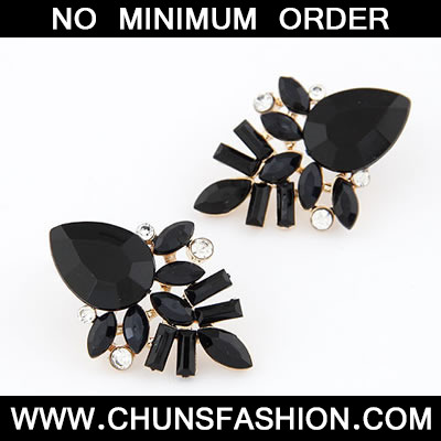 Black Elegant Shining Jewel Stud Earring