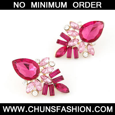 Plum Red Elegant Shining Jewel Stud Earring