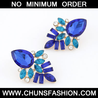 Navy Blue Elegant Shining Jewel Stud Earring