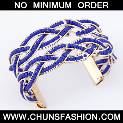 Dark Blue Bohemia Beads Style Bangle