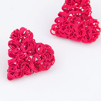 weave heart shape Stud Earring