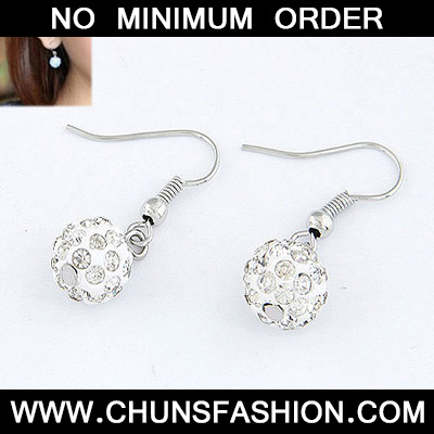White Blink Ball Earring