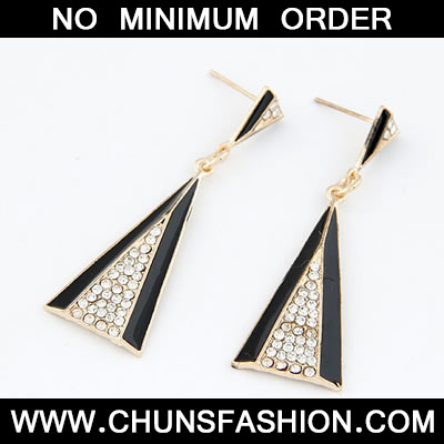 Black Triangle Shape Stud Earring