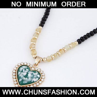 Dark Green Bling Heart Necklace