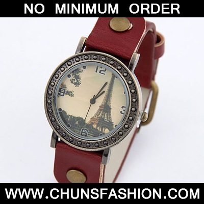 Claret Red Tower Pattern Leather Ladies Watch