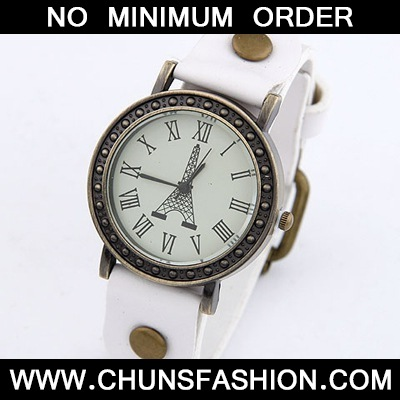 White Tower Pattern Leather Ladies Watch