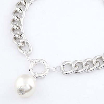 Silver Pearl Pendant Necklace