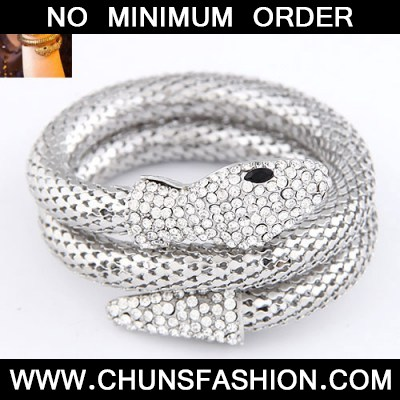 Silver Snake Shape Bangle