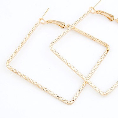 Gold Square Shape Stud Earring