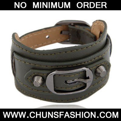 Dark Green Wide Belt Buckle Bracele