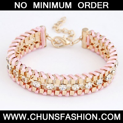 Pink Metal Weave With Diamond Bracele