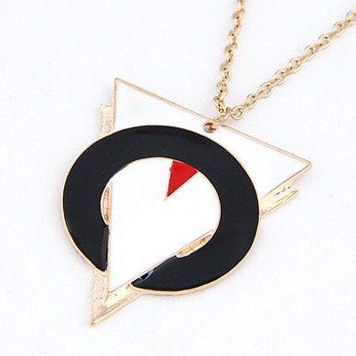 Black Triangle And Circle Linking Necklace
