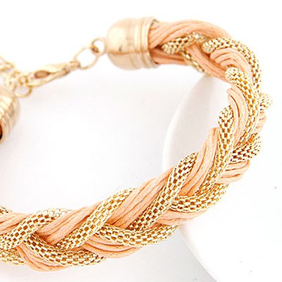 Light Pink Metal And Rope Weave