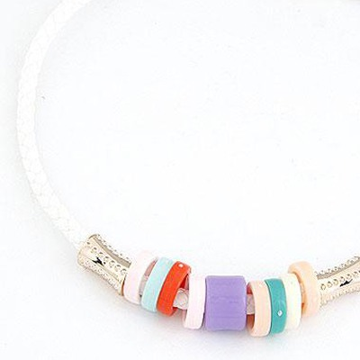 White Candy Circles CCB Necklace