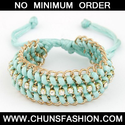 Light Blue Multilayer Metal Chain Weaving