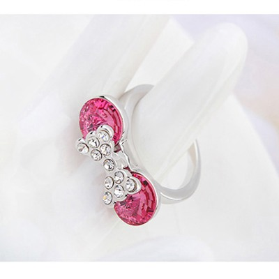 Plum Red Diamond Bowknot Austrian Crystal