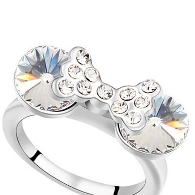 White Diamond Bowknot Austrian Crystal Ring