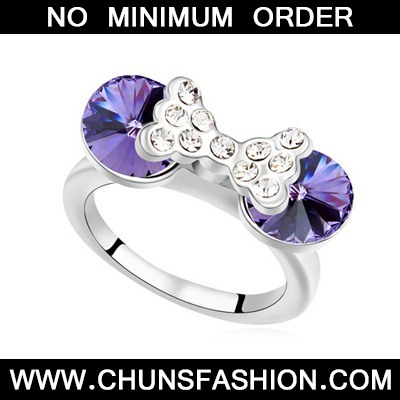 Tanzanite Diamond Bowknot Austrian Crystal Ring