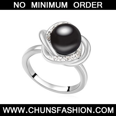 Black Pearl Crystal Ring
