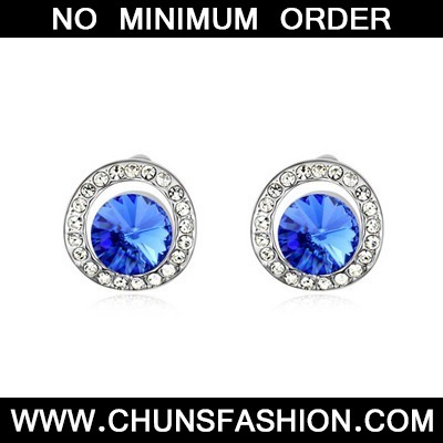 Blue Round Shape With Diamond Austrian