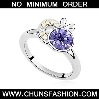 Tanzanite Apple Shape Austrian Crystal Ring