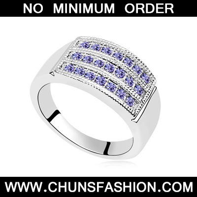 Tanzanite Three Row Diamond Austrian Crystal