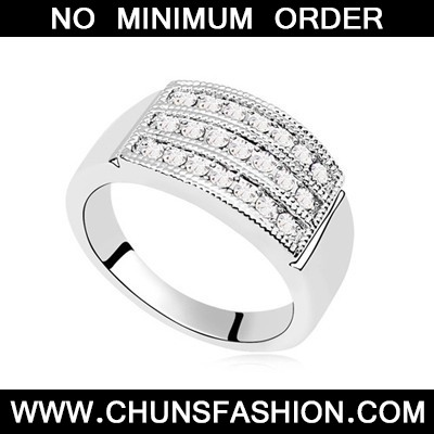 Three Row Diamond Austrian Crystal Ring
