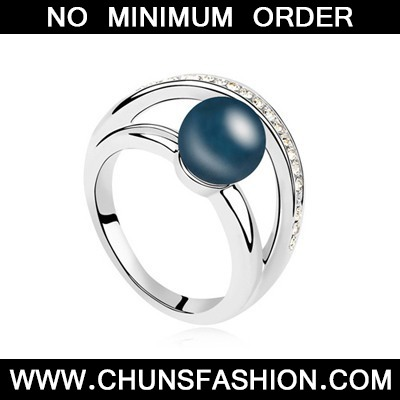 Dark Blue Pearl Crystal Ring