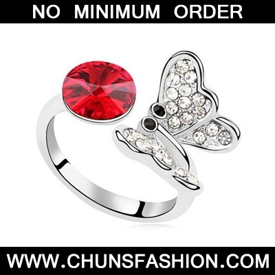 Light Red Full Of Diamond Butterfly