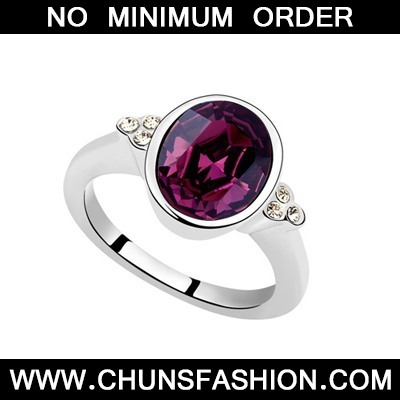 Purple Oval Shape Austrian Crystal Ring