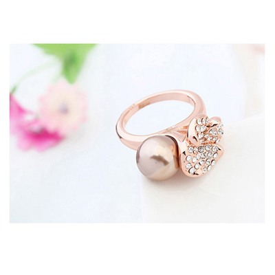 Antique Copper&Champagne Gold Flower Pearl Crystal