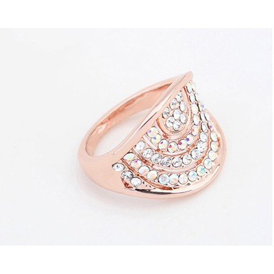 White&Rose Gold Multilayer Bow Shape Diamond