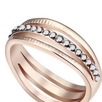 silver black Rose Gold Diamond Hollow