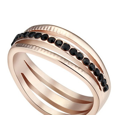Black&Rose Gold Diamond Hollow Out Austrian
