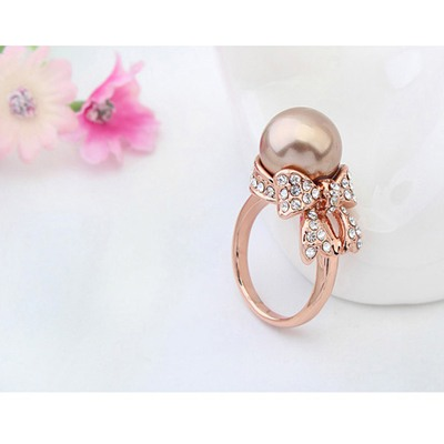 Antique Copper&Rose Gold Pearl Bowknot Pearl