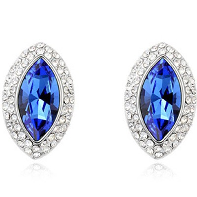 Blue Eye Shape Austrian Crystal Earring