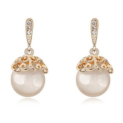 White Bulb Shape Opal Crystal Earring