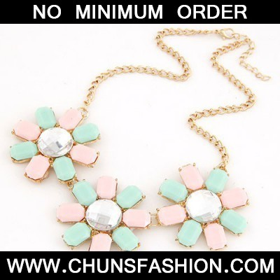 Pink&Light Blue Three Rich Flower Necklace