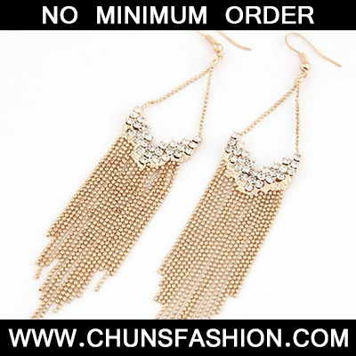 Gold Inlaid Drill Tassel Earring