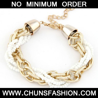 White Metal Chain Twisted Beads Bracele